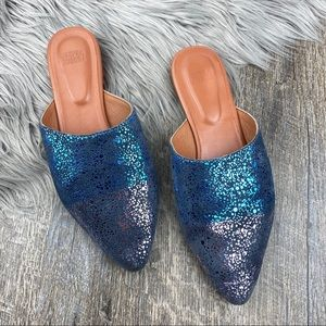 anthropologie Metallic Blue/Purple Flat Mules
